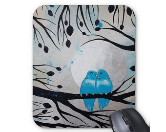 Mousepad Mouse Pad Fine Art Painting 'Turquoise Moment' Birds On A Branch Lovebirds Bluebirds Blue Birds Leaves Moon Branches Silhouette