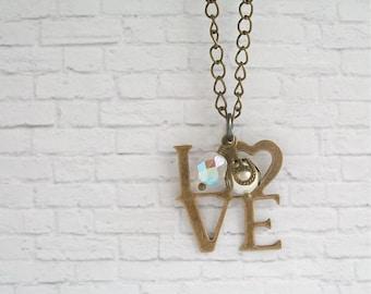 Love Charm Necklace Romantic Quote Pendant Antique Brass Word Jewelry