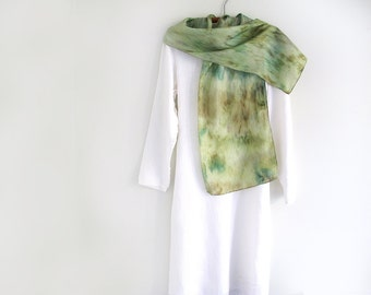 Silk Scarf, Hand-dyed, Field of Green Grass, Celery Green, Olive, Prefect for Summer