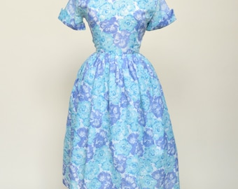 Vintage 1950s Day Dress...Sweet Blue and Lilac Semi Sheer Floral Print Dress