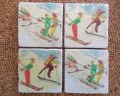 """Marble Stone Coaster Set - """"Ski Friends"""" - Ski Decor - Ski Coaster - Rustic Decor - Ski - Coaster - Vintage Ski - Natural Stone"""