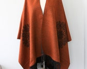 Rust Poncho Burnt orange Autumn fall accessories Long fringe poncho Winter wrap Blanket poncho Native clothing Large shawl Halloween