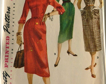 Vintage Wiggle Dress Pattern Detachable Collar Size 16 Bust 34  Uncut Fitted Dress w/ Waistline Cuffed Sleeves Round Collar Secretary Dress