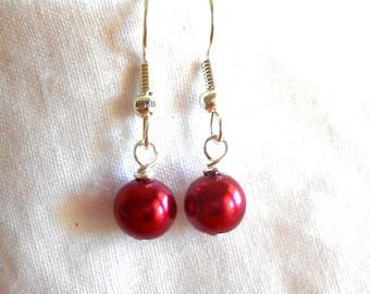 Satin Red Earrings Surgical Steel Earrings Pearl Earrings Drop Earrings Simple Earrings Beaded Earrings 6mm Beads
