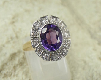 REDUCED PRICE 14k Yellow Gold Purple Topaz Diamond Ring.
