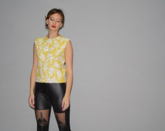 Vintage 1960s Yellow Sequin Wool Beaded Sequin Trophy Tank Top  -  Vintage Sequin Top  -  Vintage beaded Tops  - WT0242