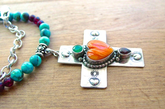 Southwest Spiny Oyster Gemstone Silver Cross on Turquoise and Garnet Necklace
