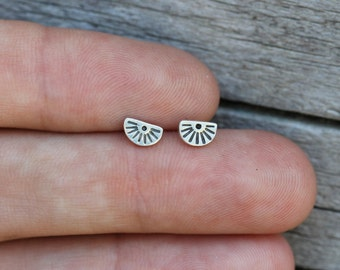 Little Sterling Silver Studs - Tiny Sunrises