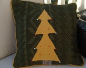 Green and gold cushion cover. Christmas tree design chenille cotton  forest green