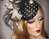 PEACOCK & POLKA DOT Fascinator, Couture Black And White Derby Hat, Kentucky Derby Fascinator, Tea Party Hat, Tilt Wedding Fascinator Hat