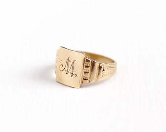 Sale - Antique 10k Rosy Yellow Gold Ostby Barton M Signet Ring - Art Deco 1930s Size 3 1/4 Vintage Monogrammed Initial OB Fine Jewelry
