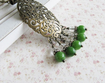 Green jade necklace, large pendant, crystal, vintage style jewelry, for her, bronze, Europe