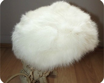 Vintage 50s Hat   1950s White Rabbit fur Hat   60s Oval Saucer Tilt Hat   Winter Bombshell Snowbunny