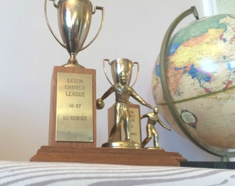 vintage bookends bowling trophies