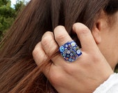 My little garden ...Handmade Millefiori Ring. Fused Glass Ring. Flower Glass Ring. Adjustable Ring. Murano Glass Ring.