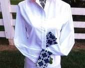 French Cuff Shirt w Navy White Cuffs and Collar; LFCW09