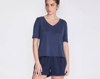 V neck t shirt, blouse, blue top, t shirt, casual tee, women blue shirt, viscose shirt, short sleeve, crop top, summer top, basic, day wear