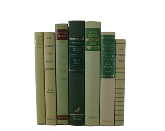 Shades of  Tan  Taupe Green  Vintage Decorative Books,  Book Decor