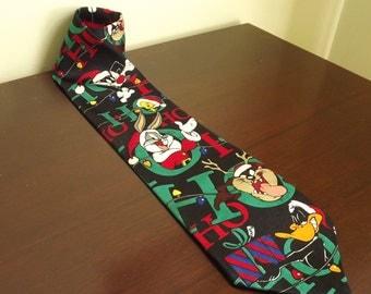 Christmas Tie, Looney Tunes Tie, Cartoon Novelty Necktie, Bugs Bunny Vintage Necktie, Daffy Duck, Tasmanian Devil, Tweety Bird, Sylvester