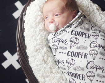 CUSTOM NAME Swaddle - Hot air balloon - Birth announcement - personalized swaddle