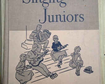Gorgeous vintage music textbook Singing Juniors Songs For Youth school book Ginn & Co 1953 two color illustrations mid cent mod craft scrap