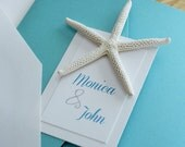 Elegant Turquoise with Real Starfish Pocketfold Plantable Destination Wedding Invitation