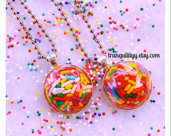 """Sprinkle Necklace , Bezel Filled Dome Real Sprinkles Resin Circle 1"""" Wide Necklace , Kawaii, Hipster, Handmade By: Tranquilityy"""