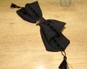 Black velvet headbow lace trim with gold fleur de liis dangle pendant Alice bow hair clip large gothic lolita tassels velvet ribbon
