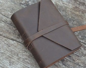 "SMOOTH & ROUGH: Leather Journal / Pocketbook / Diary / 6""X4"" / free initials / lined or Plain"