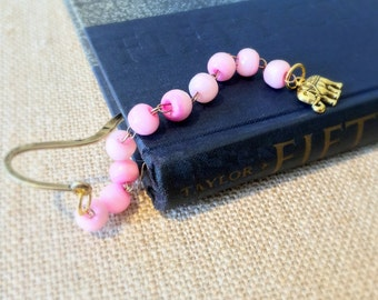 Elephant Charm Bronze Metal Bookmark, Shepard's Hook Bookmark, Gift For Reader, Bibliophile, Pink Glass Beaded Bookmark, Animal Dangle Bead