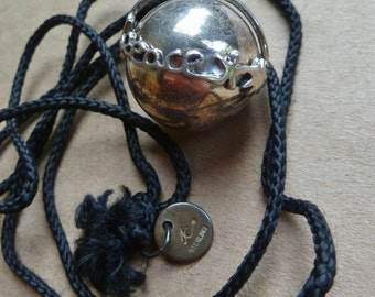 Sterling Silver Ball Globe Orb Pendant Necklace. Peace Joy People Bird. Vintage 1980s. Harmony Ball Bell. Signed JC Sterling.