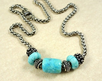 Aqua Blue Necklace - Blue and Silver Lampwork Necklace, Thick Silver Rope Style Chain - Artisan Lamp Work Necklace