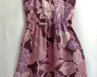 Summer Sundress Boho Batik Tropical Jungle Handmade Vintage Button Front Sweetheart Bodice Purple Haze Summertime Festival Fashion Size 10