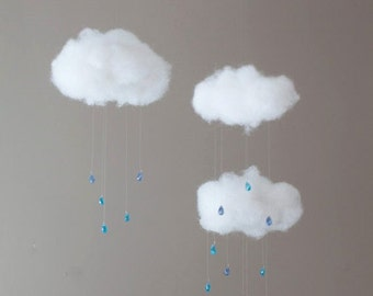 Fluffy Cloud Nursery Mobile with Bead Raindrops