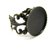 Ring Blank :  1 piece Antique Bronze Adjustable DIY Filigree Ring Component w/ 16mm Cabochon Setting -- Lead, Nickel & Cadmium Free 71859.F2