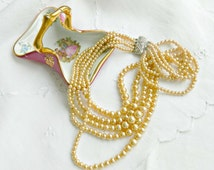 Vintage Multistrand Pearl Necklace 1950s Champagne Pearls Rhinestone Clasp Wedding Bride Prom