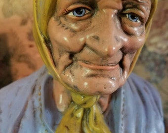 Vintage Peasant Woman Bust Face Statue Old Farmer Woman