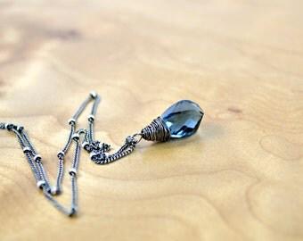 London Blue Quartz Twist Pendant, Oxidized Silver Necklace, Sterling Silver Satellite Chain, Blue Gemstone Necklace, Sapphire Blue Necklace