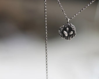 Nest . Sterling Silver rustic nest necklace.