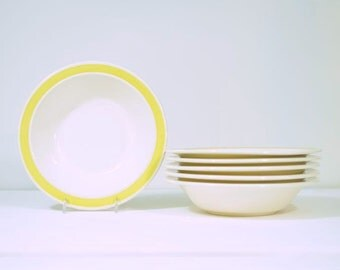 Vintage Royal China Cereal Bowls USA Pottery Margarita Pattern Yellow Band Complete Set of Six * Mint Condition *