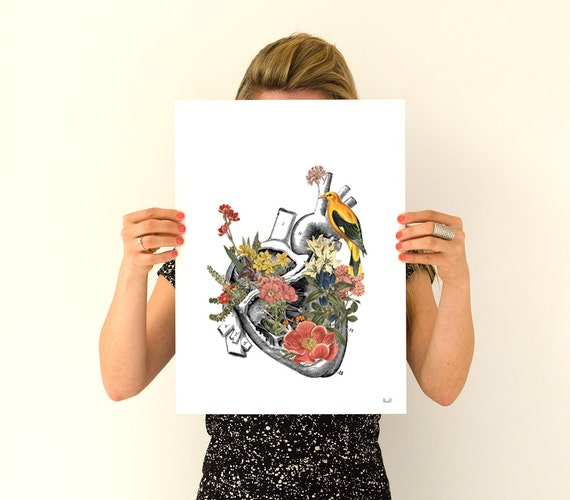 Flowery Heart with yellow bird, anatomical art, Floral art,  Wall art, flower Poster art, Human heart SKA110WA3