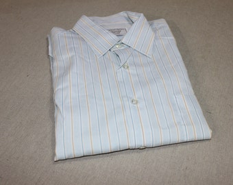 vintage 1970's -Sears- Men's long sleeve dress shirt. 'New Old Stock'. White with Aqua Blue & Gold stripes.  Large - 16 1/2 x 34/35. Sharp!