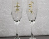 ON SALE. Ready to ship. Wedding day gift set for Bride and Groom, Wifey and hubby flutes. Toasting flutes. Newlyweds glasses. Mr and Mrs.