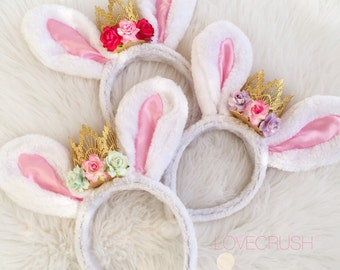 LOVECRUSH Easter Bunny Ears || flower lace crown headband || Choose One