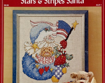 Alma Lynne STARS & STRIPES SANTA Counted Cross Stitch Chart