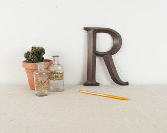 vintage sign,metal sign,sign letter,letterpress, letter R,R initial,antique sign,metal letter,bronze sign, fancy font, large, circa 1920