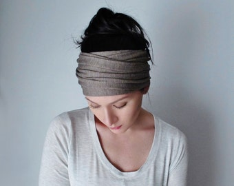 YOGA Head Scarf - Oats and Barley Hair Wrap - Light Brown Jersey Headband - Extra Wide Head Scarf - Yoga Headband, Boho Hair Accessories