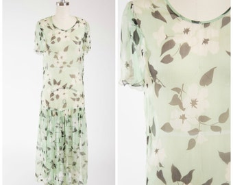 Vintage 20s Dress • Begonia Proposal • Floral Green Silk Chiffon 1920s Garden Party Dress Size Small