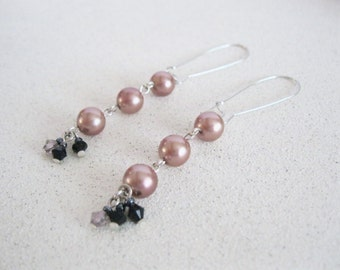 Handmade Pink Pearl Earrings Long Dangle Fashion Accessory Trendy Jewelry Silver Statement earrings Wedding Hollywood Gifts for her under 20