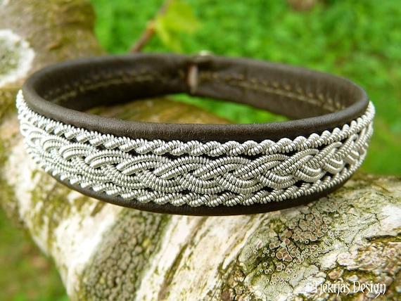 Swedish Sami Bracelet MJOLNIR Viking Cuff in Olive Reindeer Leather, Pewter Braids and Antler Button - Handcrafted Nordic Natural Elegance